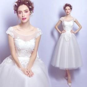 ブライズメイドドレス エンパイア、大きいサイズ イブニングドレス ウエディングドレス 2次會、贅沢なレース、白、著痩せ、姫系