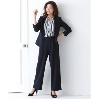 洗えるタテヨコストレッチパンツスーツ(カラーレスジャケット+ワイドパンツ)【レディーススーツ】 (大きいサイズレディース)スーツ,women's suits ,plus size