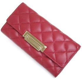 [MIKA&MAYA] 財布 レディース 長財布 二つ折り 大容量 本革 小銭入れ カード 仕切り (レッド)