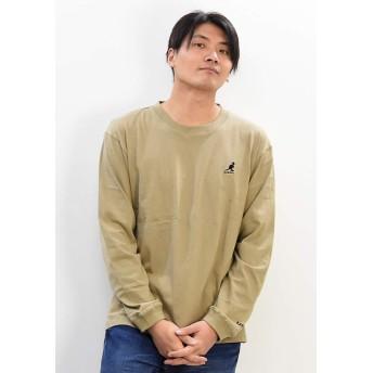 KANGOL カンゴール ワンポイントロゴ刺繍 長袖 Tシャツ 9173-9017 (Mサイズ, 91:ベージュB)