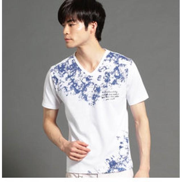 【NICOLE:トップス】グラフィックプリントVネックTシャツ