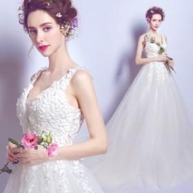 スレンダーライン ウエディングドレス 花嫁 結婚式 トレーンドレス 白ホワイト 二次會 披露宴 演奏會 発表會 ロングドレス