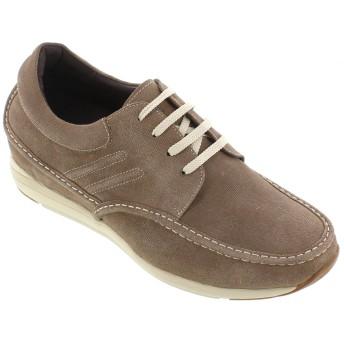 [CALTO] g4902–3.2インチTaller–高さ増加エレベーターシューズ–ヌバックカーキLatteレースアップカジュアル靴 カラー: ブラウン