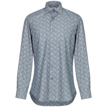 《セール開催中》CASTANGIA メンズ シャツ ブルーグレー 40 コットン 100%