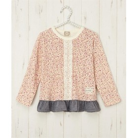 【UZULAND】小花レース切替Tシャツ(女の子 子供服) Tシャツ・カットソー