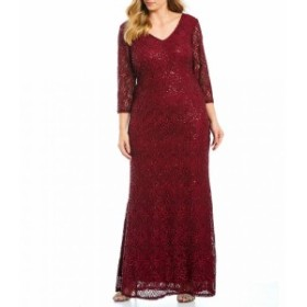 マリナ Marina レディース パーティードレス ワンピース・ドレス Plus V-Neck Illusion Lace Gown Wine