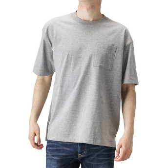 無地Tシャツ メンズ ポケット付きTシャツ 半袖Tシャツ クルーネック 丸首 無地 グレー:XL