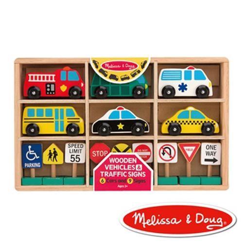 美國 瑪莉莎 Melissa & Doug美國 木製交通號誌汽車玩具組[免運費]