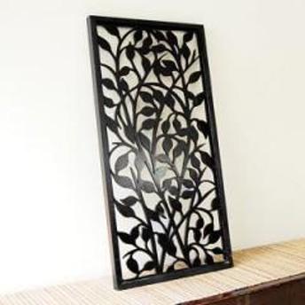 バリ島のリーフをモチーフにした長方形のアートパネル[40×80cm][10785]【木彫り 木の飾り インテリア レリーフ 欄間 木製彫刻アート 絵画アート ウッド パネル オブジェ ウォールデコレ