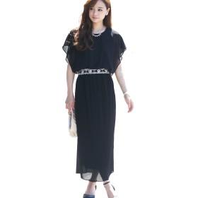 プールヴー パーティードレス ワンピース ドレス お呼ばれ 女子会 レディース ブラック Mサイズ 9号