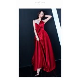 ワイン赤 パーティドレス マキシ丈 ノースリーブ カラードレス 結婚式二次會 ロングドレス 演奏會ドレス お呼ばれ 発表會