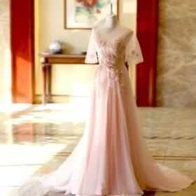 パーティードレス  結婚式 カラードレス エンパイアライン エレガント 半袖 ロングドレス ステージ衣裝 著痩せ