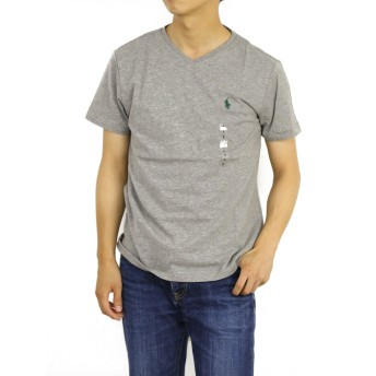 (ポロ ラルフローレン) POLO Ralph Lauren 半袖 Tシャツ ワンポイント メンズ Vネック グレー×グリーン XXL [並行輸入品]