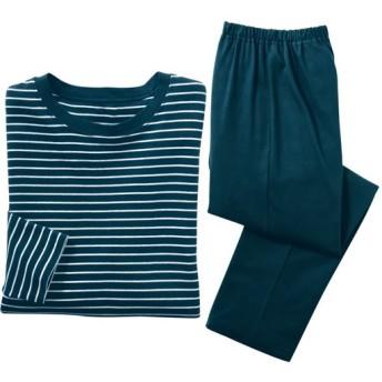【レディース】 綿100%Tタイプパジャマ(男女兼用) - セシール ■カラー:ネイビーブルー ■サイズ:S,M,L,LL,5L,3L