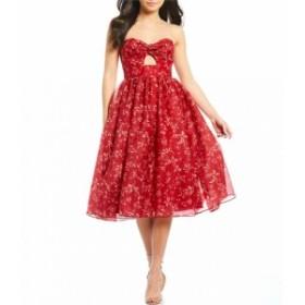 キープセイク Keepsake レディース パーティードレス ワンピース・ドレス Distraction Floral Print Strapless Fit & Flare Midi Dress S