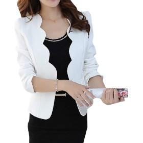 VITryst 女性OL OLオフィスミニソリッドカラースリムフィットブレザースーツ White L