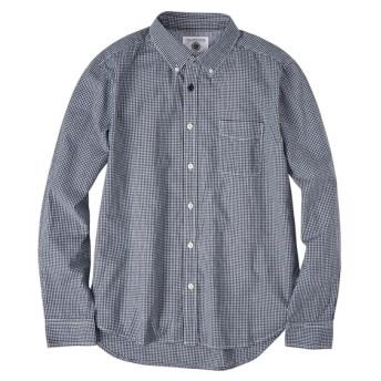 綿100%部分配色切替ギンガムチェック ボタンダウン長袖シャツ カジュアルシャツ