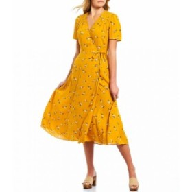 エーラブズエー A Loves A レディース ワンピース ワンピース・ドレス Floral Print Midi Wrap Dress Mustard