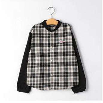 【green label relaxing:トップス】チェックコンビシャツブルゾン ホワイト×ブラック
