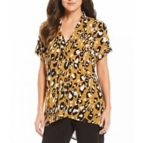 ジョーンズ ニューヨーク Jones New York レディース チュニック トップス Cheetah Print V-Neck Roll-Tab Short Sleeve Hi-Low Tunic To