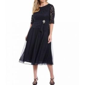 ルボ Le Bos レディース パーティードレス ワンピース・ドレス Plus Size Stretch Lace Bodice Ruched Waist With Broach Detail Tea Len
