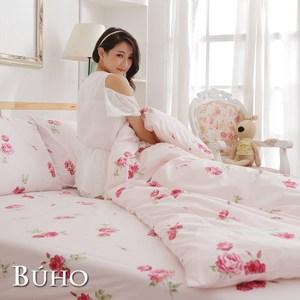 【BUHO】雙人加大三件式精梳純棉床包組(夏日玫瑰-紅)