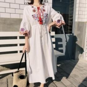 春 大人カジュアル ボヘミアン 花柄フラワー刺繍七分袖ラウンドネックロングワンピース セミフレア ホワイト S M