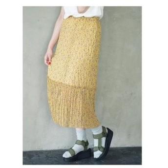イーハイフンワールドギャラリー E hyphen world gallery 花柄しわプリーツスカート (Yellow)