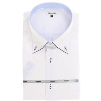 【GRAND-BACK:トップス】【大きいサイズ】renoma 形態安定レギュラーフィットボタンダウンパイピング半袖ビジネスドレスシャツ