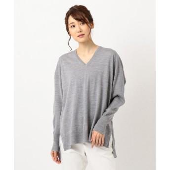 ICB Compact Wool Vネックニット レディース ライトグレー系 XS 【ICB】