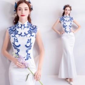 マーメイドライン ロングドレス 刺繍 チャイナドレス 著痩せ イブニングドレス パーティ/お呼ばれ/結婚式二次會/発表會