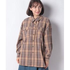 (Bou Jeloud/ブージュルード)【WEB限定】オーバーサイズチェックシャツ/レディース ベージュ