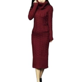 Sodossny-JP レディースタートルネックセーターケーブルニット厚冬ロングドレス Wine Red M
