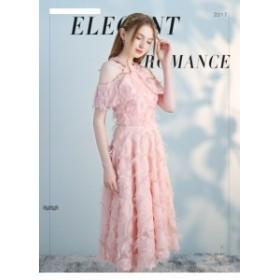 可愛いピンク ブライズメイドドレス二次會パーティドレス演奏會ドレス イブニングドレス ミモレ丈ワンピース誕生日 お呼ばれ 発表會