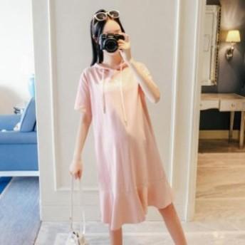 春夏 カジュアル フード付き 裾フリル Tシャツワンピース シャツワンピ ワンピース ゆったり 楽ちん 大きいサイズ