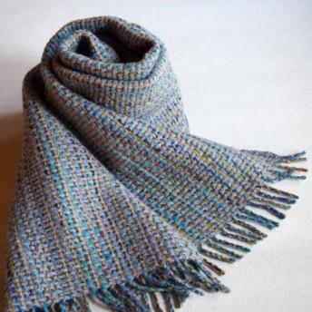 手織り・ウール ハックレース織マフラー