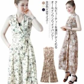 《送料無料》全3色×6サイズ!花柄オールインワン パンツドレス オールインワン ワイドパンツ サロペット ドレス オーバーオール
