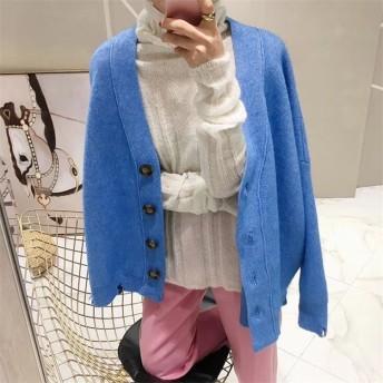 [55555SHOP]防寒対策 大きいめ ウール ニット カーディガン 女性 韓国風 秋と冬 レトロ シンプル 気質 ゆったりする コート 怠惰な風 カジュアルセーター