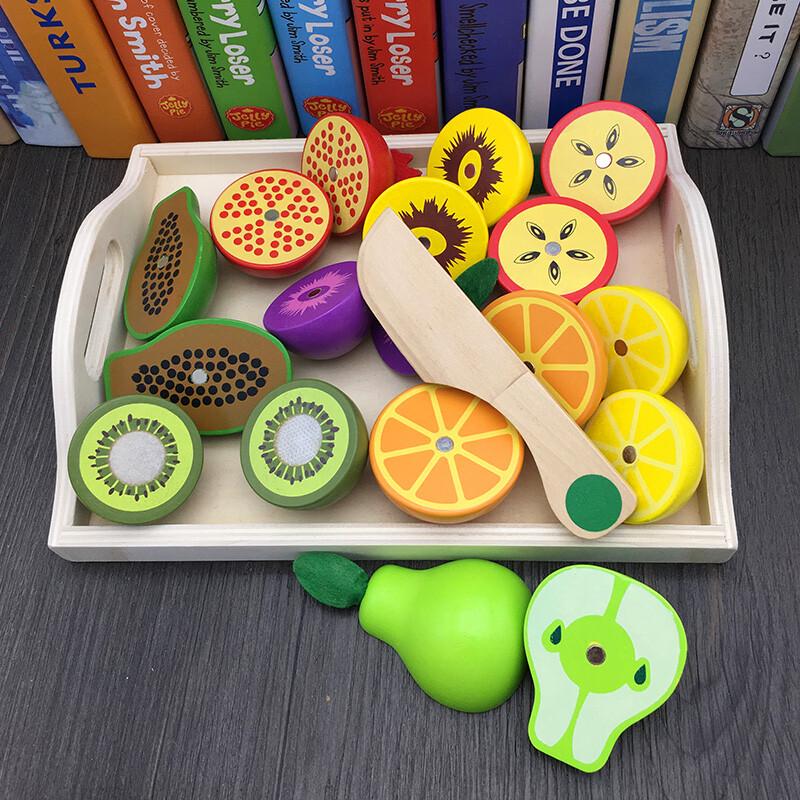 木製磁性切切遊戲 蔬菜水果托盤磁性切切 水果蔬菜切切托盤組 仿真切切看 仿真蔬菜水果切切遊戲