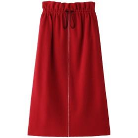 PLAIN PEOPLE プレインピープル ウールブークレーギャザースカート レッド