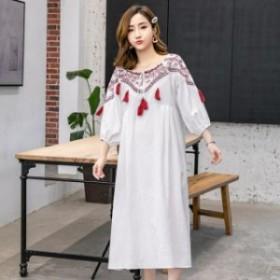 春夏 エスニック 刺繍 タッセル リボン ラウンドネック 七分袖 フレア ワンピース M L XL 2XL ホワイト