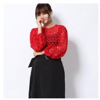 ハニーミーハニー HONEY MI HONEY heart embroidery blouse/ハートエンブロイダリーブラウス (red)