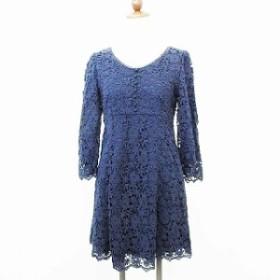 【中古】ミニマム MINIMUM ワンピース ミニ丈 七分袖 飾り釦 レース 綿 ネイビー 紺 2 レディース