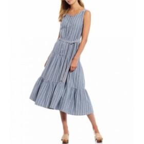 チェルシーアンドバイオレット Chelsea & Violet レディース ワンピース Stripe Sleeveless Tiered Tie Waist Button Front Cotton A-Lin