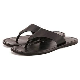 [Jusheng-shoes] メンズシューズ 夏男性スリッパ男性本物の革フリップフロップ男性ヴィンテージカジュアルビーチサンダル滑り止めZapatos靴 カジュアルシューズ (Color : Black, Size : 6-MUS)