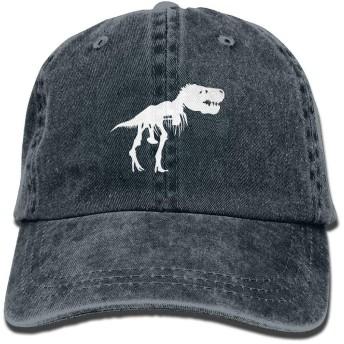 男性&女性T Rex Skeleton Dinosaurアジャスタブルヴィンテージウォッシュデニムコットンパパ帽子野球帽ネイビー
