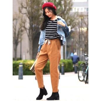 【大きいサイズレディース】【L-2L】ピグメントストレッチペルー刺繍 パンツ パンツ デニムパンツ・ジーンズ