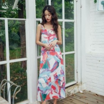春夏 ロングワンピース マーブル カラフル マキシ 夏 リゾート 裾フリル ドレス レトロ 胸元リボン キャミ デー
