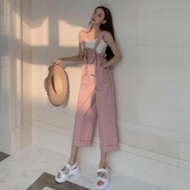 春夏 ガーリー カジュアル 楽ちんコーデ オールインワン サロペット ワンサイズ フリーサイズ ピンク ベージュ
