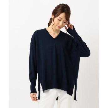 ICB Compact Wool Vネックニット レディース ネイビー系 XS 【ICB】
